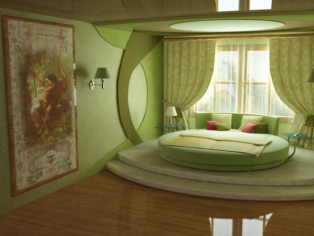 Интерьер спальни зеленой фото